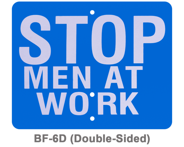 BF-6D_STOP MEN AT WORK_SIGNAL FLAG_BLUE